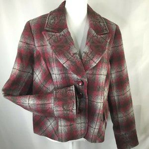 Tribal~Wool Blend~Embroidered~Plaid~Lined~Jacket